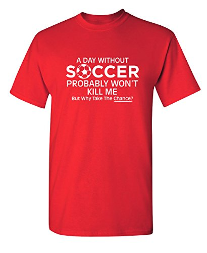 (Day Without Soccer Funny Novelty Graphic Youth Kids T Shirt YM Red)