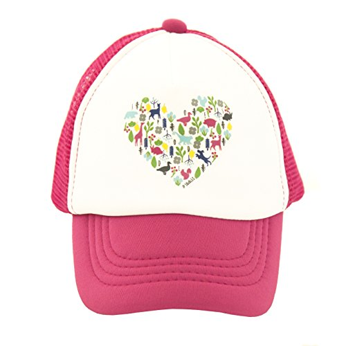 Heart on Baby Trucker Hat. The Baby Baseball Cap is Available in Baby, Toddler Adult Sizes. (Itty Bitty 4-12 Mos, HOT Pink)