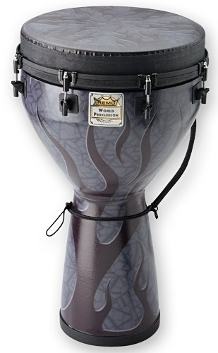 Remo DJ0014-35 14 x 25 Inches Designer Series Key-Tuned Djembe, Shadow Flame Finish