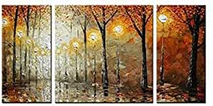 Sangu 100 hand painted wood framed 4 piece for Oil paintings for sale amazon