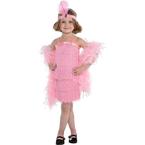 1920s Flapper Girl Costumes (Roaring 20's Cotton Candy Pink Flapper Girl's Party Costume, Polyester Fabric, Children's Small (4-6), 3-Piece Set)