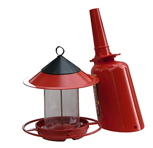 EZ Fill Wild Bird Songbird Sunflower Seed Feeder with Scoop/Dispenser Funnel Bundle - 2 Items: Feeder and Scoop, Red