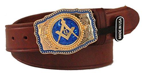 [해외]사용자 정의 Masonic 광장과 나침반 버클 1 12 인치 드레스 벨트. 미국에서 만든 / Custom Masonic Square and Compasses 1 12 inch Dress Belt with Buckle. Made in the USA