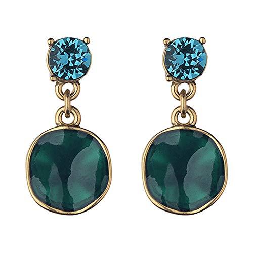 Fellala Vintage Dangle Earrings for Women Gold Plated Green Hand-Painted Enamel Earrings