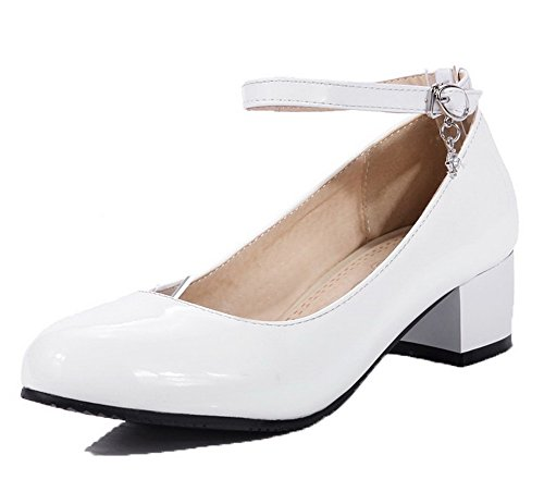 Round WeenFashion Low Buckle Heels Toe Solid Leather Shoes Patent Court White Women's qaOqxpw0