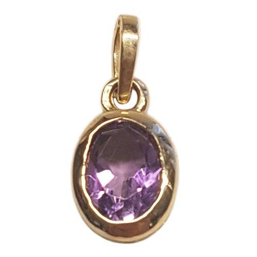 Clearance Pendentif Femme en Or 14 carats Jaune avec Zircon Violet, 1.3 Grammes