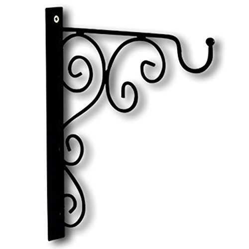 (WHW Whole House Worlds French Country Style Wall Hook Bracket, Iron, Scrolling Arabesque Curls Design, 12 ½ L x 1¼ W x 11 ¾ H inches, Screw On, for Hanging Plants or Lanterns )