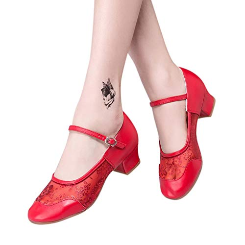 Seaintheson Dance Shoes for Women, Womens Dancing Rumba Waltz Prom Sandals Ballroom Latin Salsa Dance Singles Shoes Red