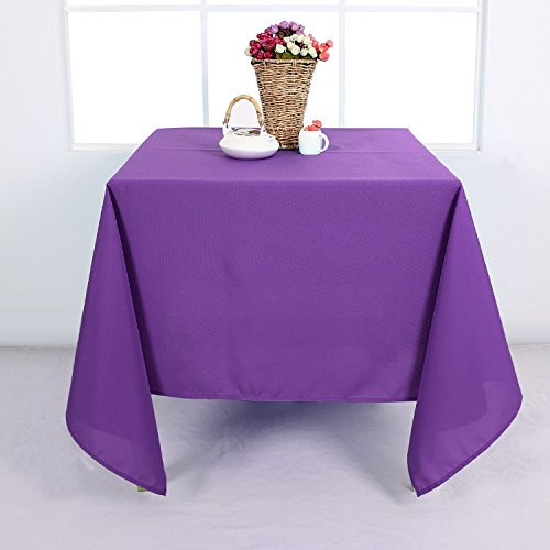 Deconovo Solid Oxford Decorative Square Water Resistant Tablecloth For Dining Room, 54x54-inch, Purple … (Square Tablecloth Purple)