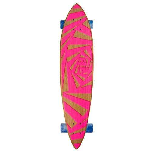 Strght Pin Tail Cruiser Skateboard in Bamboo with Webby Design (Pink, 34 x 7.5-Inch)