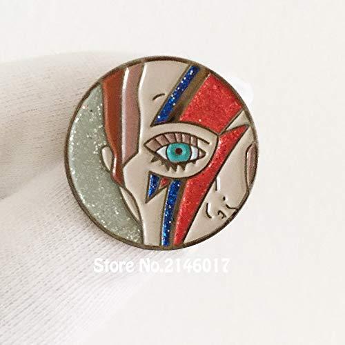 2Pcs Musician Cartoon Sane Lightning Bolt Makeup Badge Emblem Enamel Pins and Brooch Pin Corsage Rock Retro 1'' Inspired Lapel