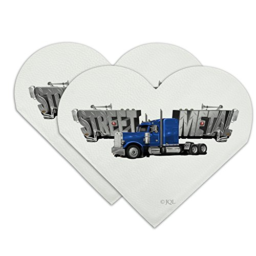 Street Metal Semi Tractor Trailer Truck Cab Heart Faux Leather Bookmark - Set of 2 (Cab Leather)