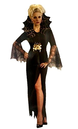 Sexy Spider Lady Costume Dress Outfit Adult Women Witch Gothic Black Plus Size