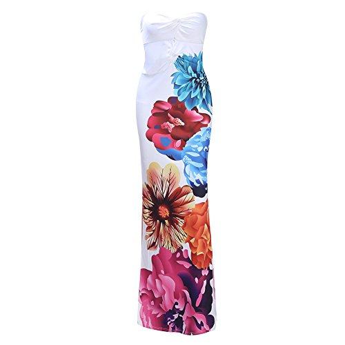 Jipai(TM) Mujer Vestido Largo SinMangas con Estampado Floral Para Verano Vacación Casual Muy Sexy (Blanco, 3XL)