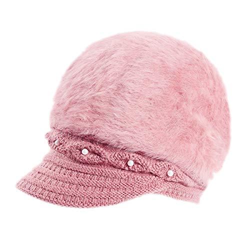 Women Wool Angora Beret Hat Plush Pearl Knit Crochet Visor Cap Girl's Newsboy Cap Pink