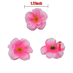 HZOnline Artificial Silk Cherry Blossom Flower Heads, Fake Fabric Sakura Floral Head decor for Bridal Hair Clips Headbands Dress DIY Accessories Wedding Party Supply Table Decorative (100pcs Pink) 3
