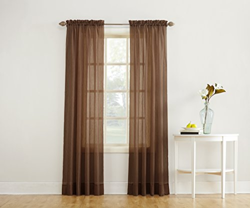 Opaque Panels - No. 918 Erica Crushed Textured Sheer Voile Rod Pocket Curtain Panel,Chocolate Brown,51