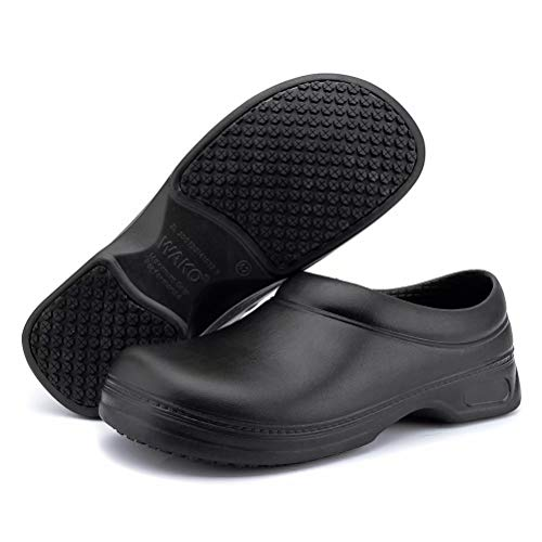 Women's and Men's Slip Resistant Work Shoes Comfort Slip on Chef or Nursing Shoes, Black, 10.5 Women/9 Men (Best Mens Nursing Shoes)