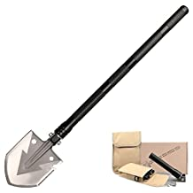 FSDUALWIN High Strength Military Folding Shovel with Carrying Pouch, Multipurpose Tactical Trench Shovel Tool / Steel Spade for Camping Hiking Backpacking Gardening Snow Army - (Black)