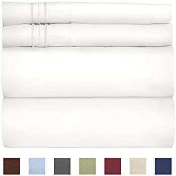 King Size Sheet Set - 4 Piece Set - Hotel Luxury Bed Sheets - Extra Soft - Deep Pockets - Easy Fit - Breathable & Cooling Sheets - Wrinkle Free - Comfy - White Bed Sheets - Kings Sheets - 4 PC