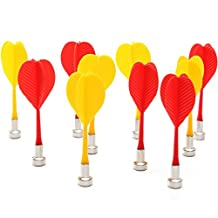 NUOLUX 10pcs Replacement Safe Plastic Wing Magnetic Darts Bullseye Target Game - Red Yellow