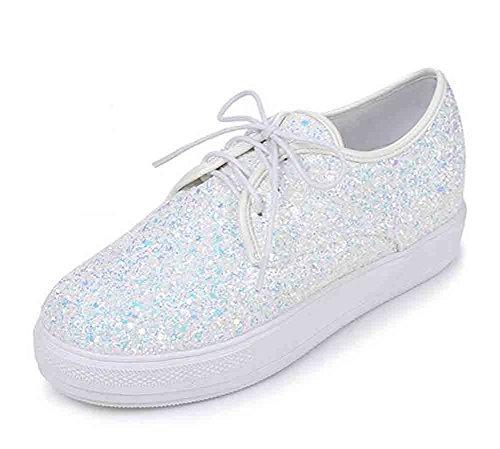 Easemax Damesslippers Glitter Lace Up Ronde Neus Lage Top Hoogte Verborgen Platform Sneakers Wit