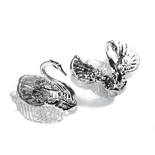 Lot de 24Silvery Swan avec des ailes mobiles dragées support–S17s24