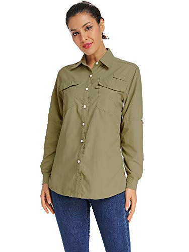 Women's Sun Protection Long Sleeve Breathable Quick Dry Fishing Hiking Shirts Khaki Tag M ()