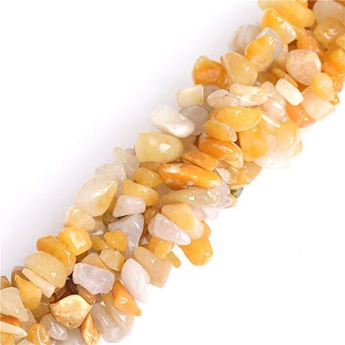 "6-8mm Yellow Jade Gravel Gemstone Chips Natural Stone Loose Beads for Jewelry Making Freeform 34"" JOE FOREMAN"