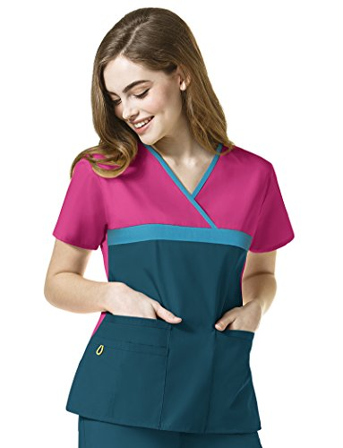 WonderWink Women's Tri-Charlie-Y-Neck Block Top, Hot Pink/Real Teal/Caribbean, - Tri Women Real
