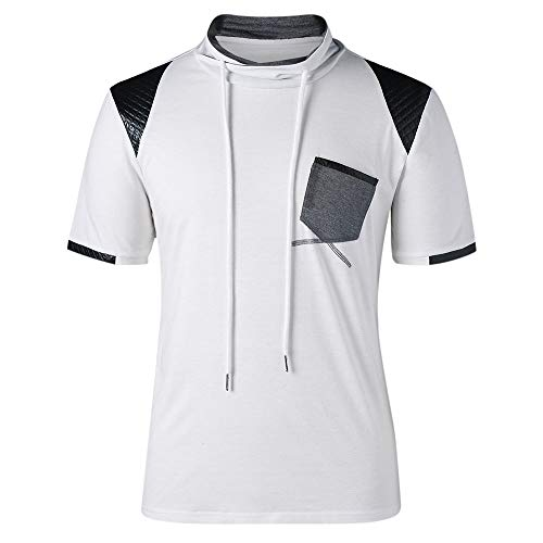 BoyNewYork Patch Pocket Drawstring Neck T Shirts Casual Short Sleeve White T-Shirts for Men from BoyNewYork