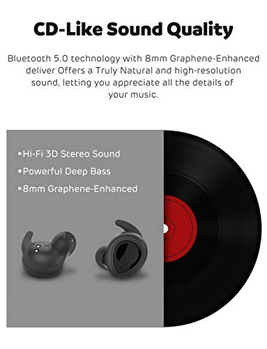 Wireless Earbuds, Earner True Bluetooth 5.0 Earbuds Stereo Hi-Fi Sound Deep Bass 8mm Graphene-Enhanced Speaker Driver IPX5 Waterproof 20-Hour Playtime with Charging Case Bluetooth Headphones
