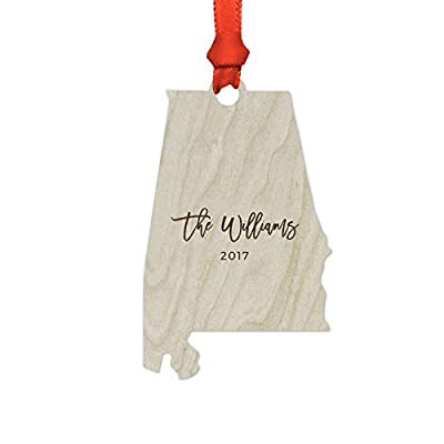 Andaz Press Personalized Laser Engraved Wood US State Christmas Ornament Collection