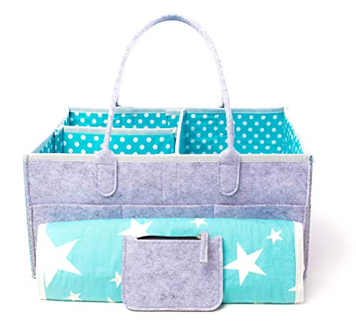 (Large Portable Baby Diaper Caddy Organizer With Bonus Changing Pad & Wallet – Cute Polka Dots, Reinforced Handles, Sturdy Bottom – For Boys, Girls, Nursery, Baby Showers, Baby Registry, Storage & More)