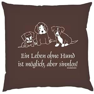 Divertido Funda para cojín (: Una vida sin perro es posible, pero sentido. Cojín (Color: Marrón)