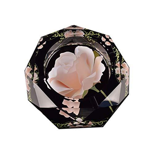 JXLBB Cenicero de rosa Cristal Cristal Grande Creativo Salón Mesa de centro Oficina Hotel Europeo Moderno Lujo Cenicero de...