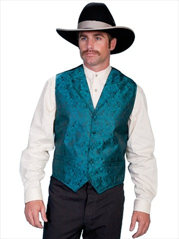 (Scully Rangewear Men's Rangewear Classic Paisley Dress Vest Teal)