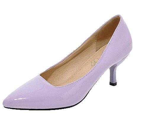 di Solid Medio FBUIDD006827 Ballet Maiale Donna Tacco Pelle Tirare Flats AllhqFashion Viola Ef1Uq7x