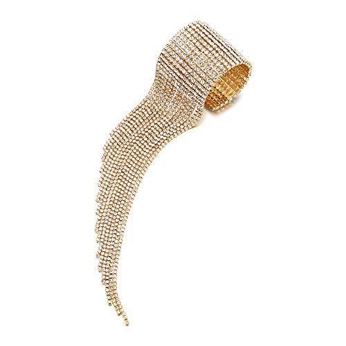 - BriLove Women's Costume Trendy Crystal Tassel Open End Cuff Bracelet Clear Gold-Toned