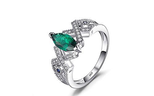 Size 9 2.7ct Created Emerald & Blue Spinel Ring Genuine 925 Sterling Silver Fashion Rings Emerald Spinel Ring