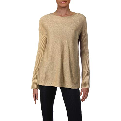 Vince Camuto Womens Ribbed Bell Sleeve Lurex Sweater Bisque SM One Size