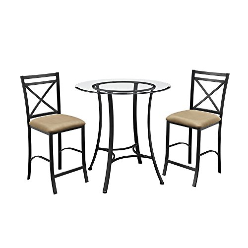 Dorel Living Valerie 3 Piece Counter Height Glass and Metal Dining Set (Bistro Black Table Glass)