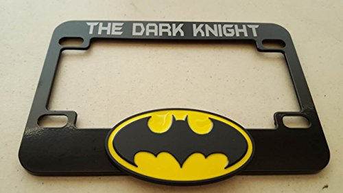 Batman Symbol 3D with The Dark Knight Silver Aluminum Brush Decal Cut on Black Metal License Frame for Motorcycle - Slingshot and others