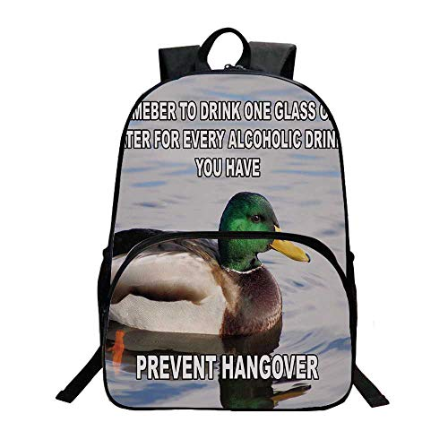 Animal Decor Fashionable Backpack,Cute Mallard Duck Swimming on the Lake River Green Head Feathers Nature Print for Boys,11.8