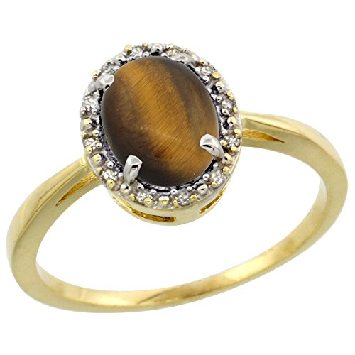 Silver City Jewelry 10k Yellow Gold Natural Tiger Eye Ring Oval 8x6 mm Diamond Halo, Size 7 10k Gold Tiger Eye