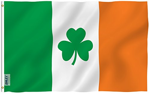 Anley Fly Breeze 3x5 Foot Ireland Shamrock Flag - Vivid Colo
