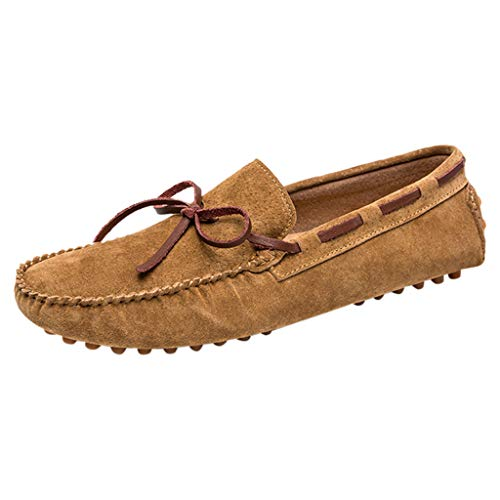 RAINED-Mens Driving Penny Loafers Suede Moccasins Slip On Casual Dress Boat Shoes Low Top Flats Shoes Walking Sneakers Brown