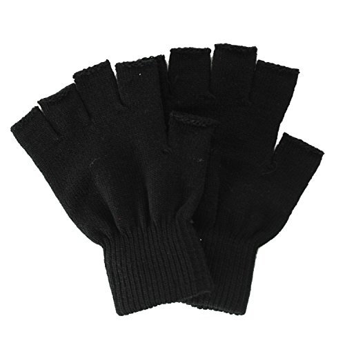 Simplicity Men/Women Half Gloves Solid Color Knitted Winter Warm Gloves, Black, One Size