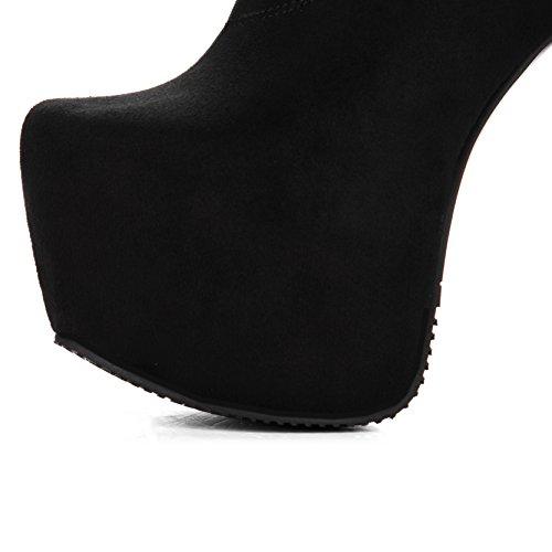 YE Damen Overkneestiefel Stiletto High Heels Plateau Stretch Stiefel mit Reißverschluss 15cm Absatz Elegant Schuhe Schwarz(Wildleder)
