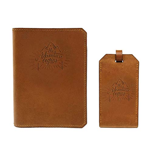 Handmade Wax Leather Embossed Travel Set – Passport Holder and Luggage Tag – SIM Card Eject Pin Tool Included (The Adventure Begins)